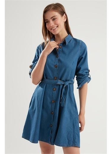 Pattaya Pattaya Kadın Kuşaklı Düğmeli Katlanabilir Kollu Kot Elbise PTTY20S-9924 Renkli